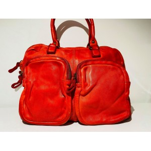 SAC NELLY CUIR VINTAGE ROUGE