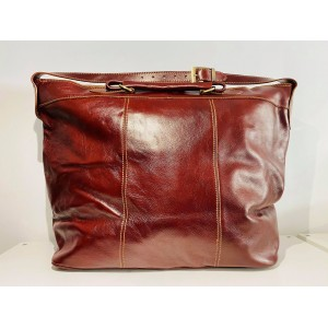 SAC WEEK-END TOP CUIR BORDEAUX